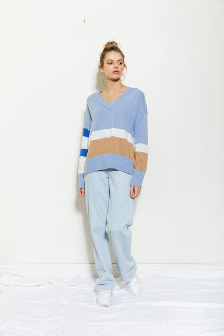Colour Block V Knit - Ballard Blue Stripe