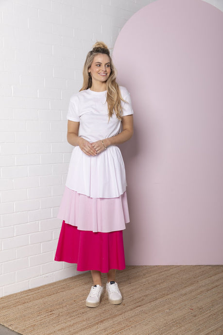 Tiered Colour Block Skirt - Pretty Pinks