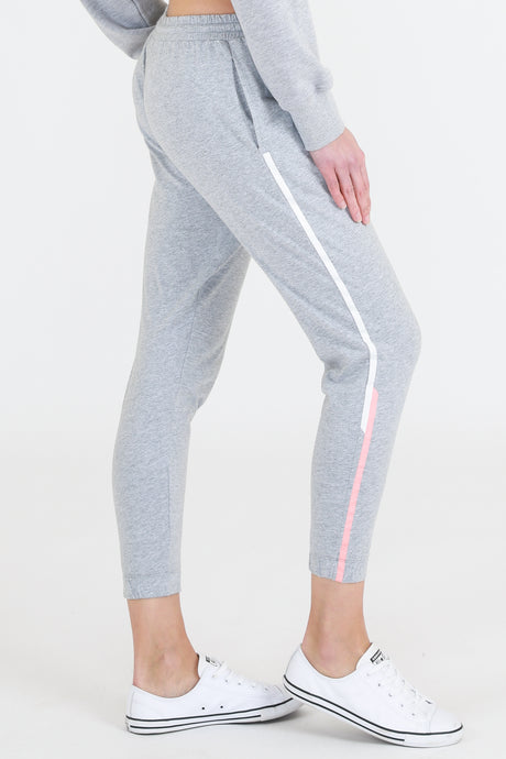 Isabella Jogger - Grey Marle with Pink