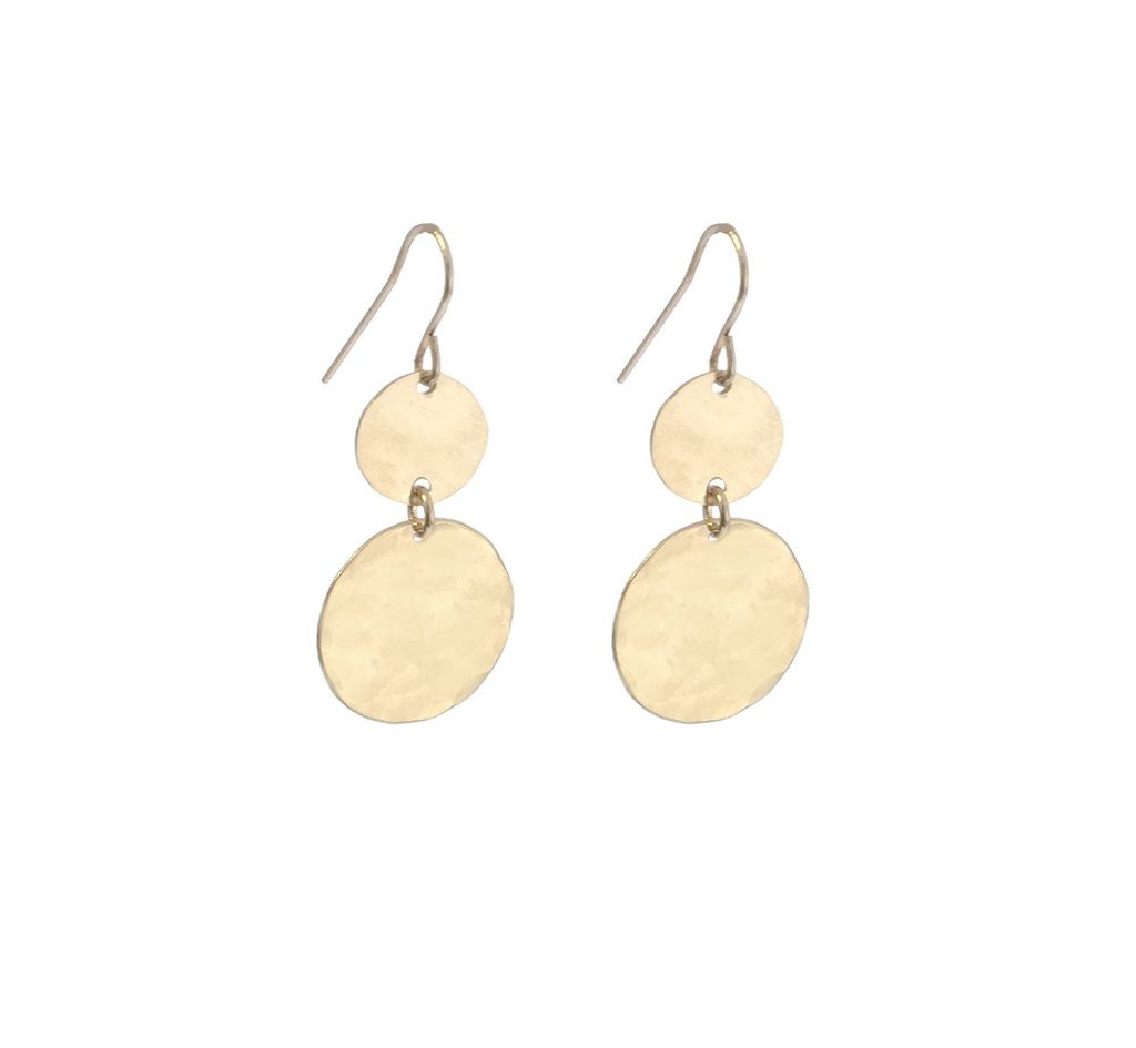 Double Mini and Large Disc Earrings - Gold,Rose
