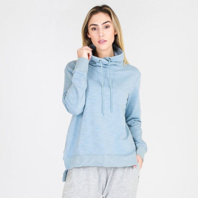 Alicia High Neck Sweat - Storm Blue