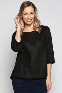Boatneck Linen Top - Black