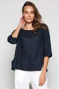 Boatneck Linen Top - Navy