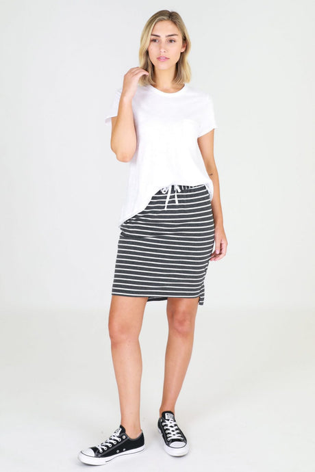 Alice Skirt - Charcoal Stripe