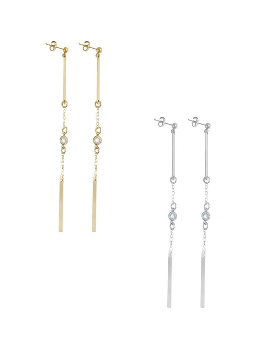 Double Bar and Crystal Earrings - Gold, Silver