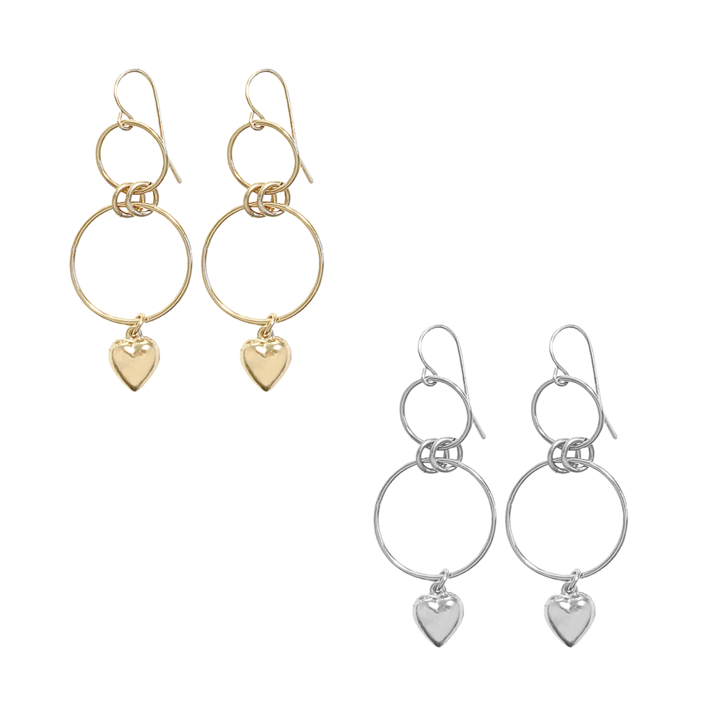 Double Ring and Heart Earrings - Gold Filled