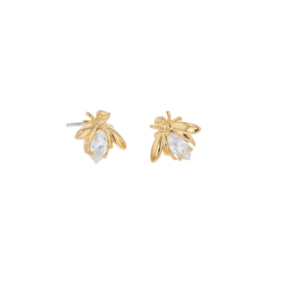 Crystal Bee Earrings - Gold