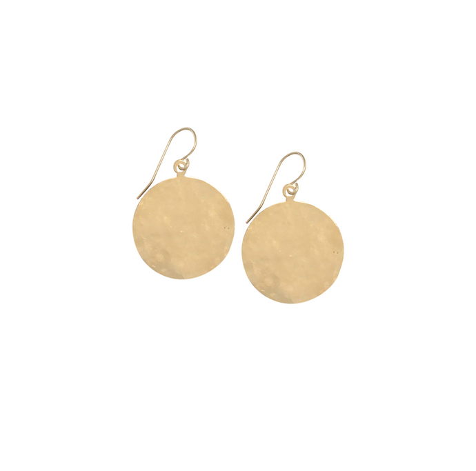 Sia Extra Large Hammered Disc Earrings - Gold