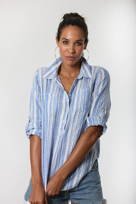Linen Popover Shirt - Blue stripe