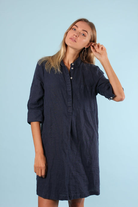 Linen Popover Dress - Navy