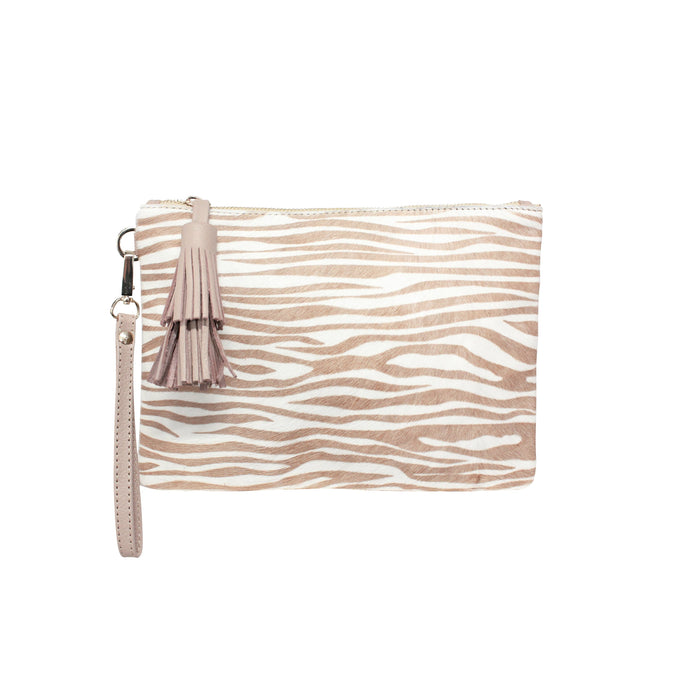 Large Mara Clutch - Zebra Print, Almond