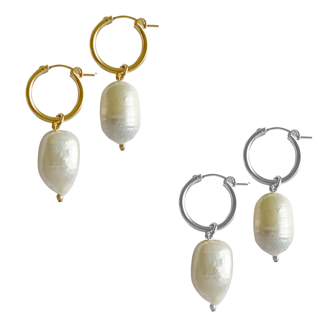Baroque Pearl Paris Hoop Earring - Gold, Silver, Rose