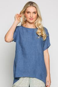 Orion Linen Top - Capri Blue