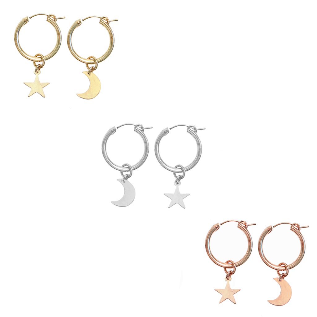 Paris hoop with Star and Moon - Gold,Silver,Rose