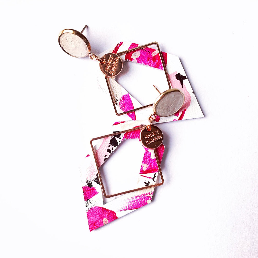 Rosie Pink Concrete & Leather Geo's - Silver or Rose