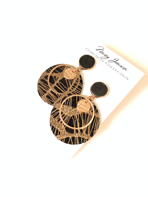 Black Concrete & Round Spider Webbed Earrings - Rose