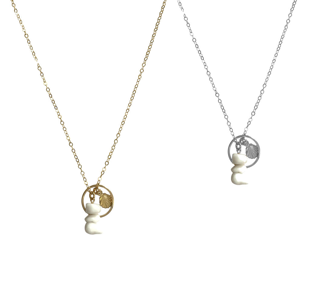 Ring and Shell Sharm Necklace - Gold, Silver