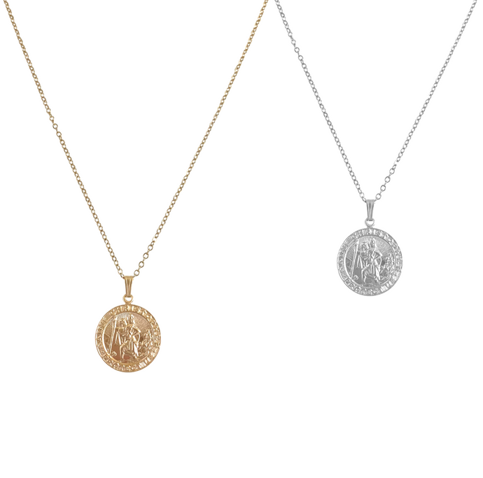 St Christoper Necklace - Gold, Silver