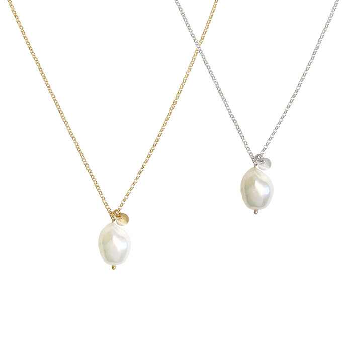 Tess Baroque Pearl Necklace - Gold, Silver, Rose