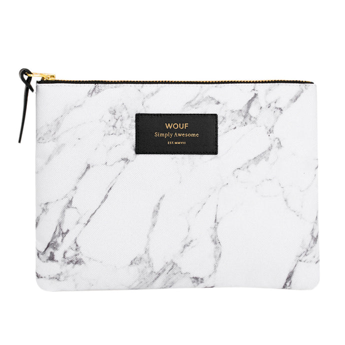 Classic Luxe Pouch - White Marble