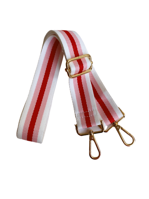 Stripe Bag Strap - White/Pink/Red