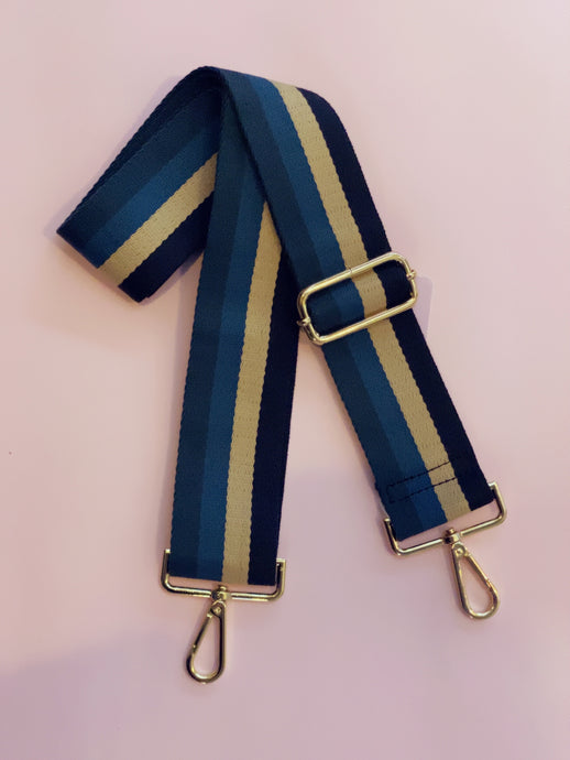 Stripe Bag Strap - Blue Multi 5cm