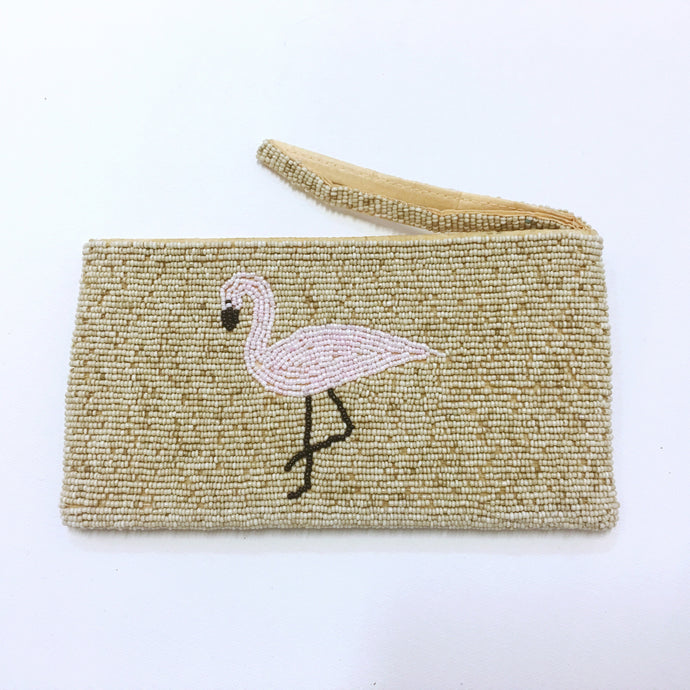 Large Beaded Purse - Pink Flamingo