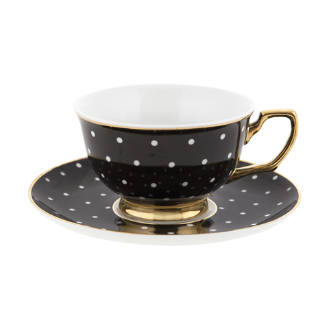 Ebony Polka dot teacup & saucer