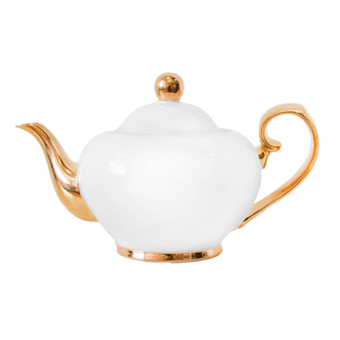 Small teapot - Ivory/gold