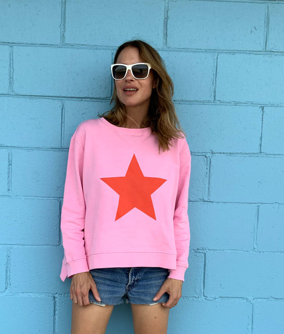 Zip Sweat - Lolly Pink Red Star