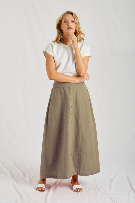 Portofino Skirt - Washed Khaki