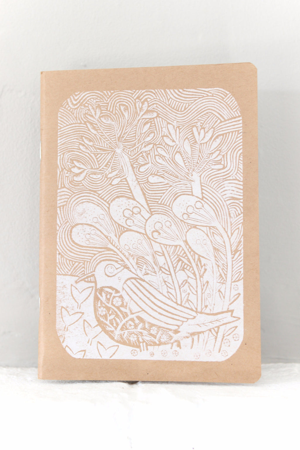 White Woodcut Slim Notebook