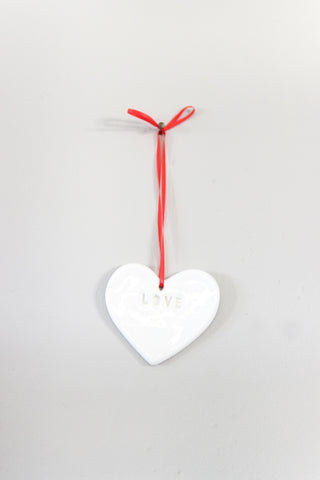 Fine Bone China Love Heart Hanging Decoration