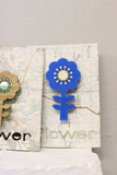 Blue Acrylic & Wood Flower Brooch