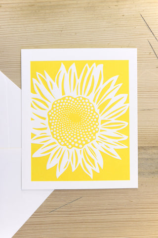 Yellow Sunflower Greetings Card