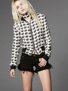 Printed Silk Georgette Bomber Jacket