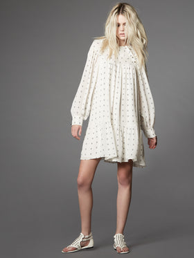 Long Sleeve Silk Georgette Baby Doll Dress - Thomas Wylde