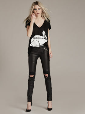 Distressed Stretch Leather Pull On Leggings - Thomas Wylde