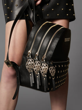 Skull Studded Leather Backpack - Thomas Wylde