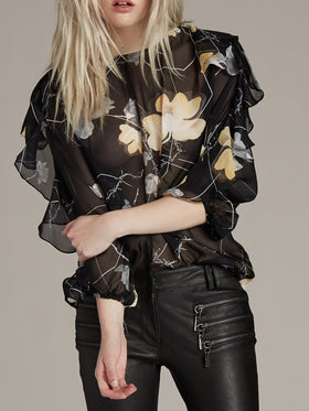 Ruffle Sleeve Printed Silk Blouse - Thomas Wylde