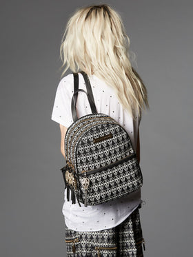 Skull Printed Canvas Backpack