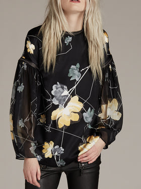 Printed Silk Satin Top With Blouson Sleeves - Thomas Wylde