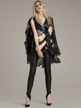 Printed Silk Cape Blouse - Thomas Wylde