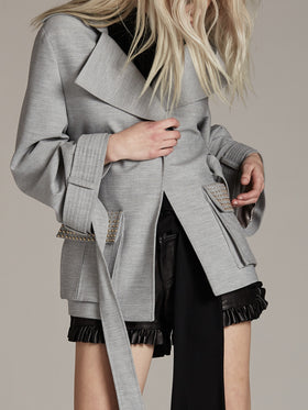 Oversized Cuff Studded Detail Jacket