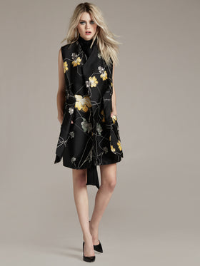 Printed Silk Cotton Sleeveless Coat