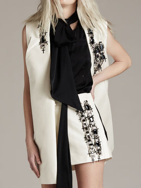 Silk Cotton Sleeveless Coat With Crystal
