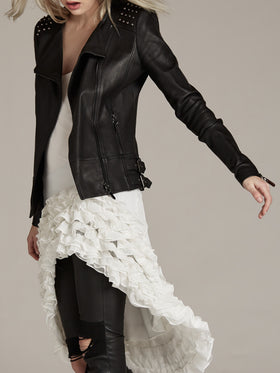 Pearl Studded Stretch Leather Biker Jacket