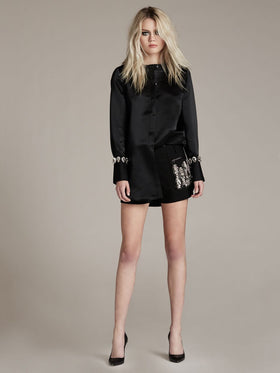 Crystal Embellishment Stretch Suiting Shorts - Thomas Wylde