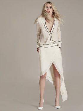 Asymmetrical Silk Georgette Wrap Snap Dress - Thomas Wylde