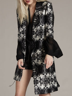 Printed Silk Cotton Asymmetrical Coat